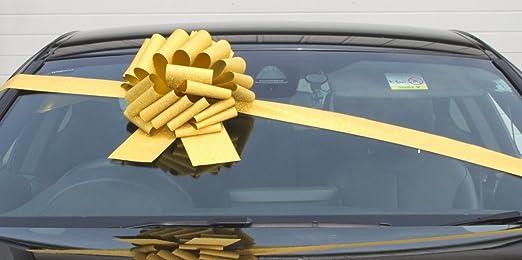 Lazo gigante para coche (30 cm) más 3 metros de listón. Para coches, bicicletas, regalos de cumpleaños y Navidad. Color dorado brillante.: Amazon.es: Hogar