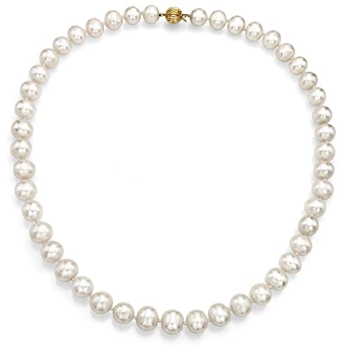 La Regis Jewelry 14k Yellow Gold 8.5-9.5mm Freshwater Cultured High Luster Pearl Ball-Clasp Necklace, 18