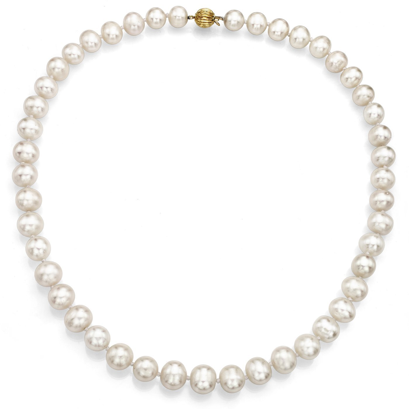 14k Yellow Gold 8.5-9.5mm White Freshwater Cultured Pearl Ball-clasp Necklace, 18'' Jewelry Gift For Women