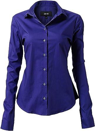 Harrms - Blusa básica para mujer, entallada, de manga larga, de algodón, de un solo color, lisa, para traje, trabajo, con bolsillo en el pecho, fácil de planchar, 11 colores azul 44: