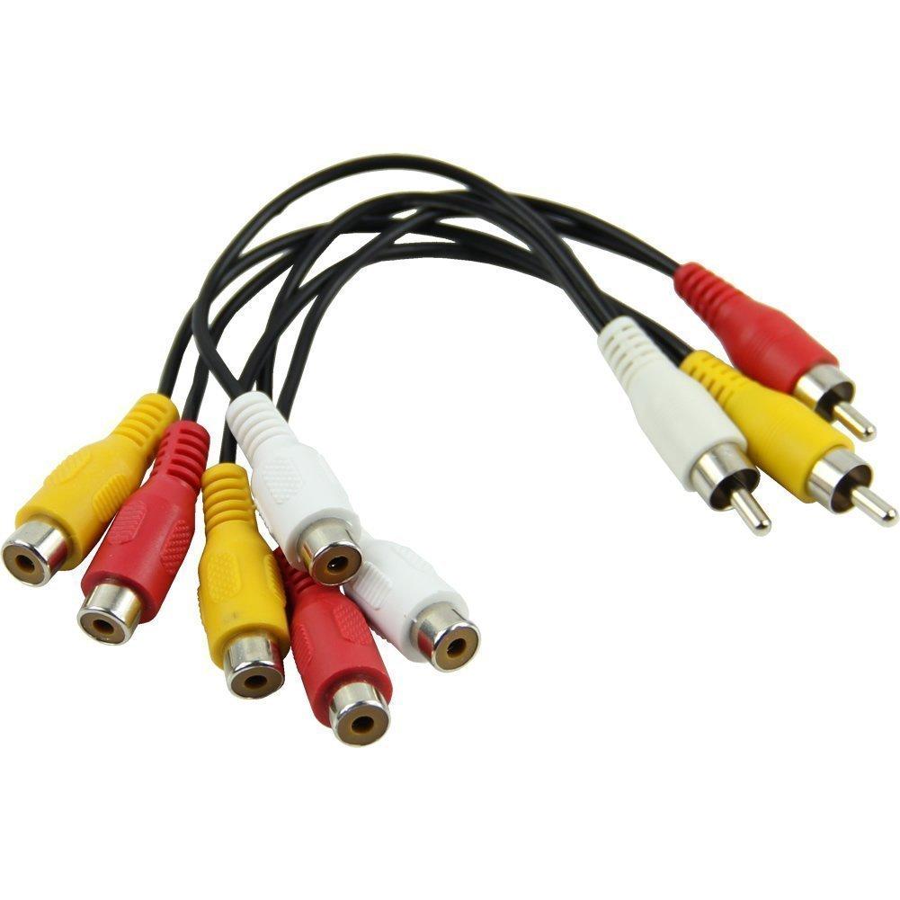 Amazon.com: Outop 3 RCA Male Jack to 6 RCA Female Plug Splitter ...