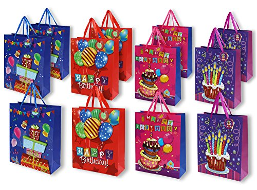 Birthday Gift Bags -12 Pack Medium Birthday Party 3D Present Bags, 10.25 x 3.25 x 12.5 inches by Juvale