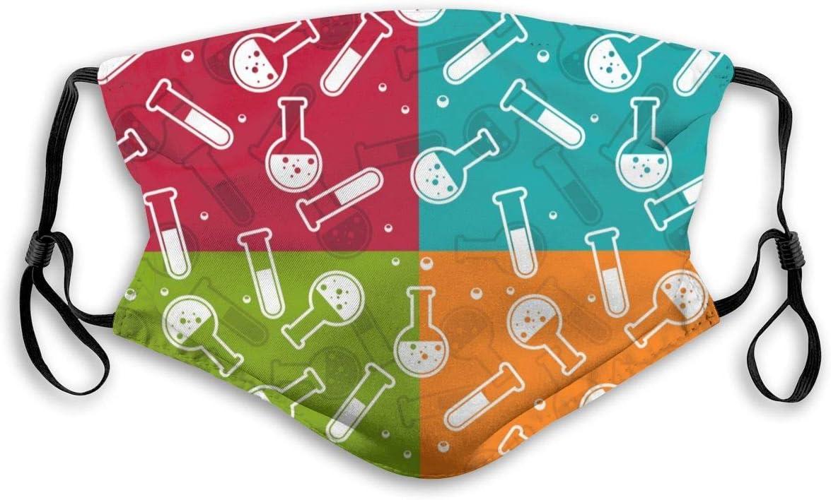 Patrón de Tubos de ensayo y frascos de Laboratorio Unisex Máscara de Filtro de carbón Activo con filtros Pm2.5 5 Capas de protección para la bruma