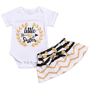 aa5711663 Younger star Baby Girl Little Sister Bodysuit Tops Bowknot Striped Skirts  Dress Set (White,