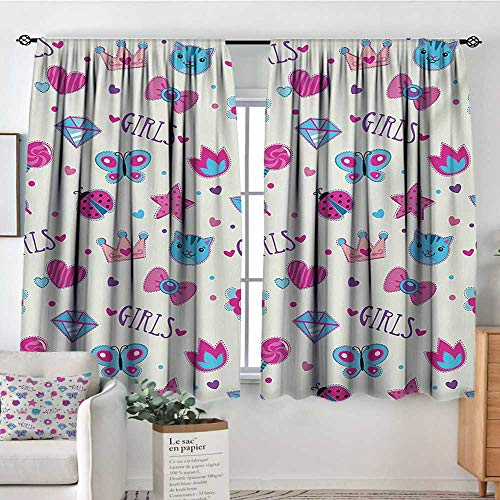 Mozenou Teen Girls Custom Curtains Pattern with Funny Doodle Elements Bowtie Ladybird Diamond Figures and Kitty Patterned Drape for Glass Door 63