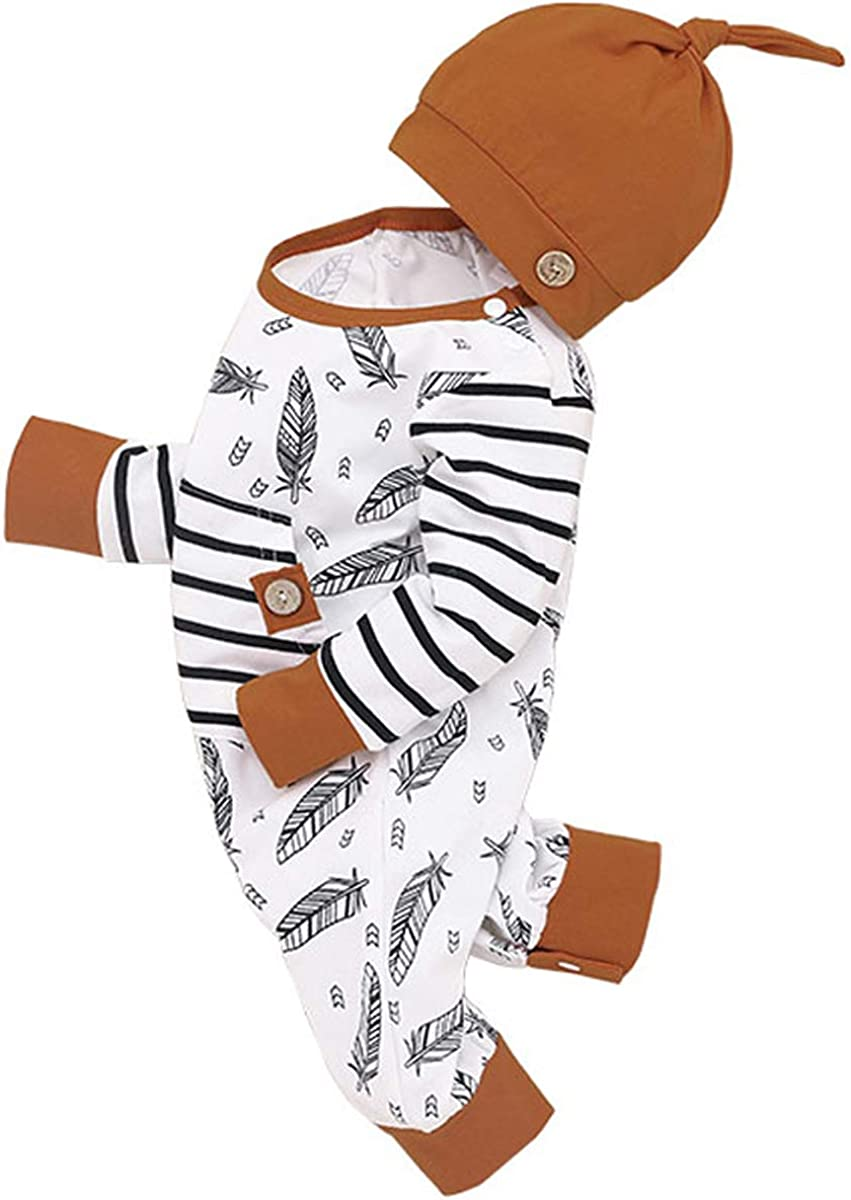 Aunavey Newborn Baby Boy Arrow Romper with Hat Long Sleeve Jumpsuits Coming Home Outfits