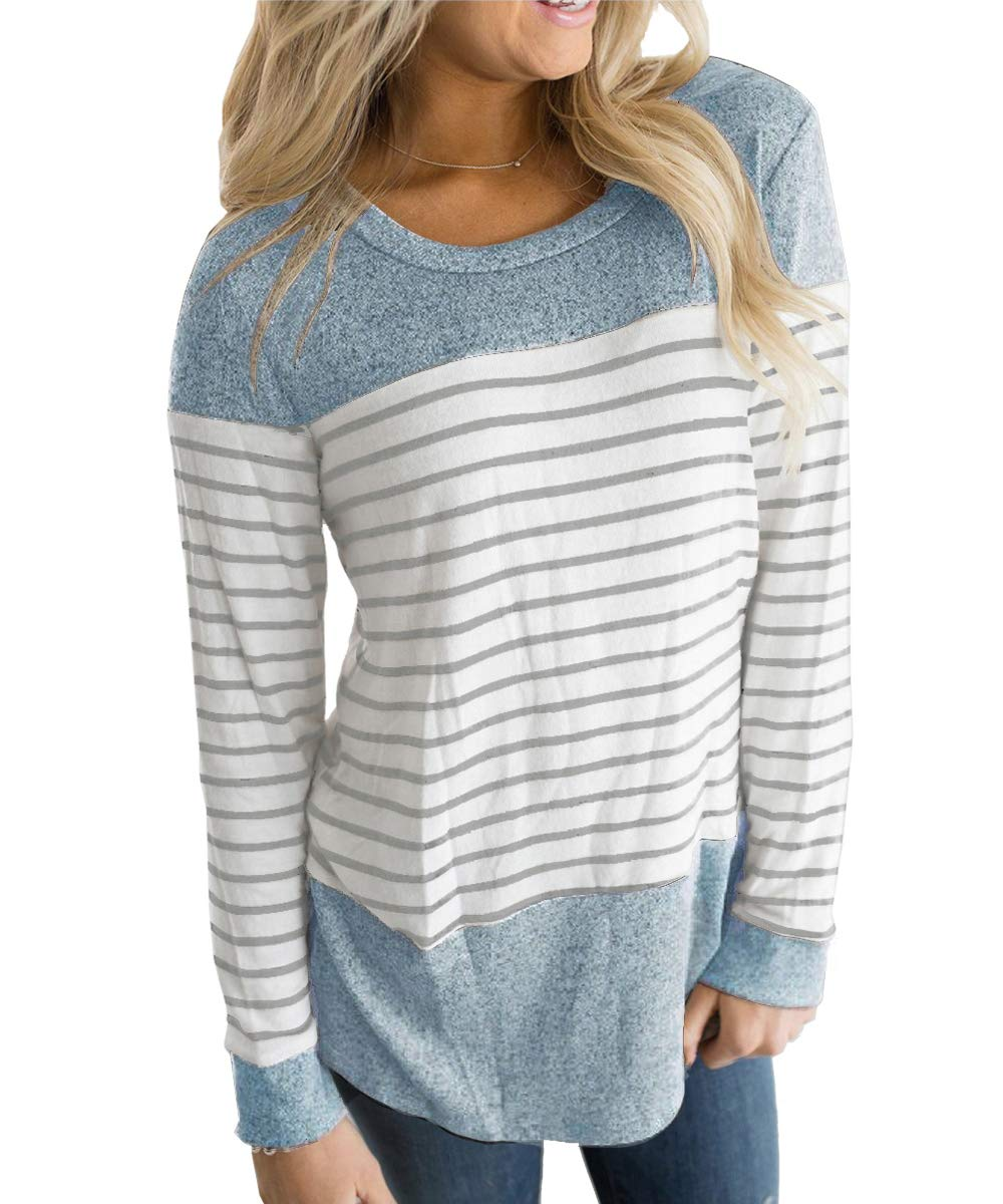 Vemvan Womens Long Sleeve and Short Sleeve Round Neck T Shirts Color Block Striped Casual Blouses Tops