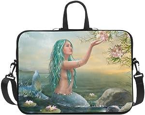 InterestPrint Animal Mermaid Laptop Sleeve Case Bag, Mermaid Sunset Shoulder Strap Laptop Sleeve Notebook Computer Bag 15-15.6 Inch for MacBook Pro Air Dell HP Lenovo Thinkpad Acer Ultrabook