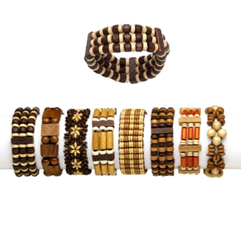 Boho Wood Bracelets Adjustable Unisex Set of 24 Different Bracelets by Charmed By Dragons (Image #3)