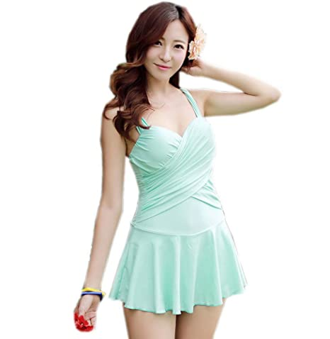 Amazon Com Mint Green Swimsuit For Women Skirt Bathing Suit Medium