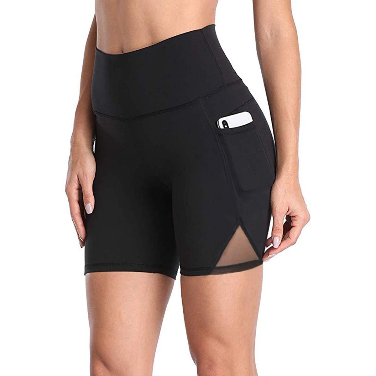 DILANNI Women Running Shorts with Pockets High Waist Yoga Bike Workout Shorts(Black XS)