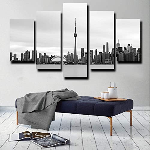 CINRYTN Framed Black and White Art Poster Toronto Canada City skyline 5 Pieces Canvas Wall Art