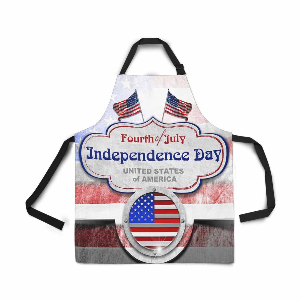 InterestPrint Vintage 4th of July Independence Day US American Flag Label Adjustable Bib Apron for Women Men Girls Chef with Pockets, Kitchen Apron for Cooking Baking Gardening Pet Grooming Cleaning