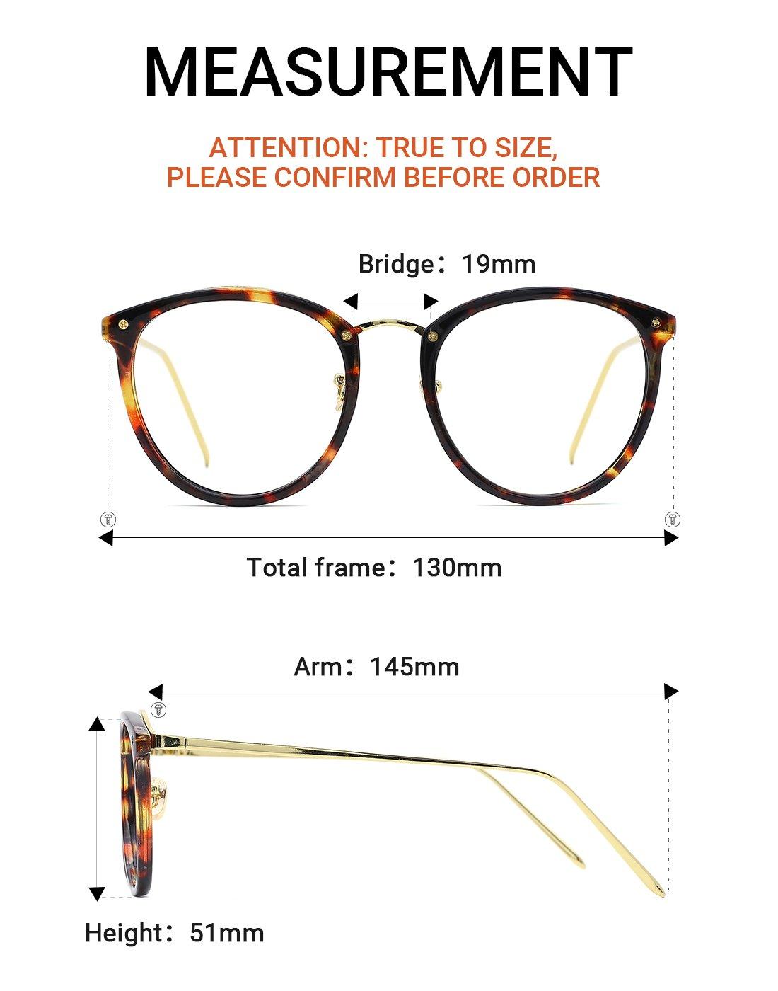 TIJN Round Blue Light Filter Computer Glasses Eyeglasses for Women Transparent Lens((Blue Light Block) Tortoise, 50) by TIJN (Image #5)