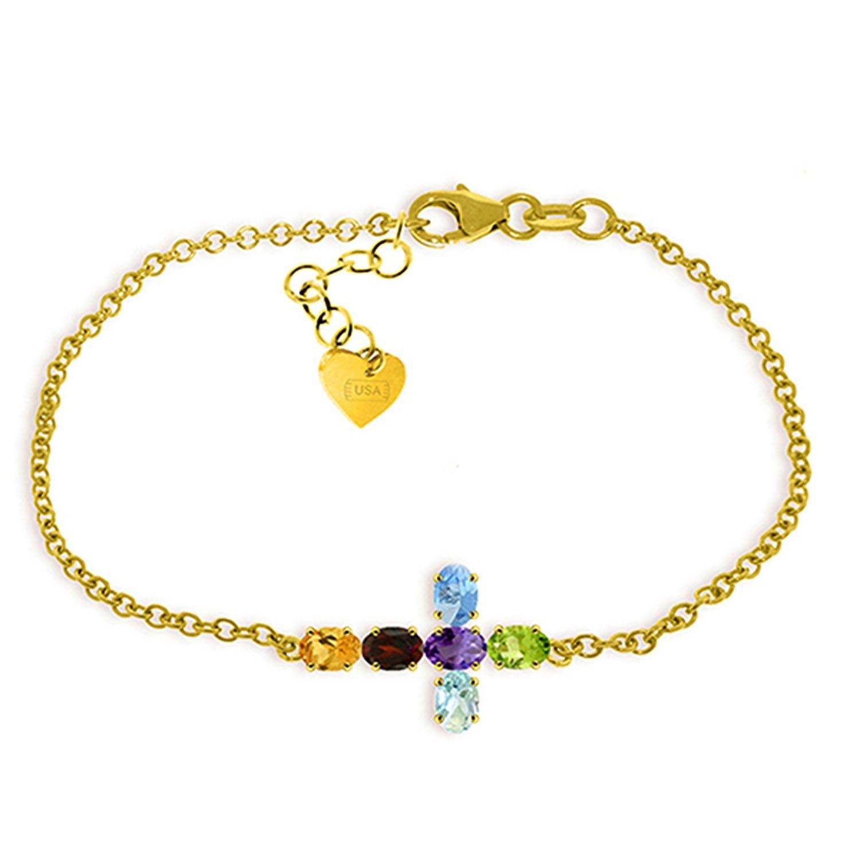 ALARRI 1.68 CTW 14K Solid Gold Cross Bracelet Natural Multi Gemstones Size 8.5 Inch Length