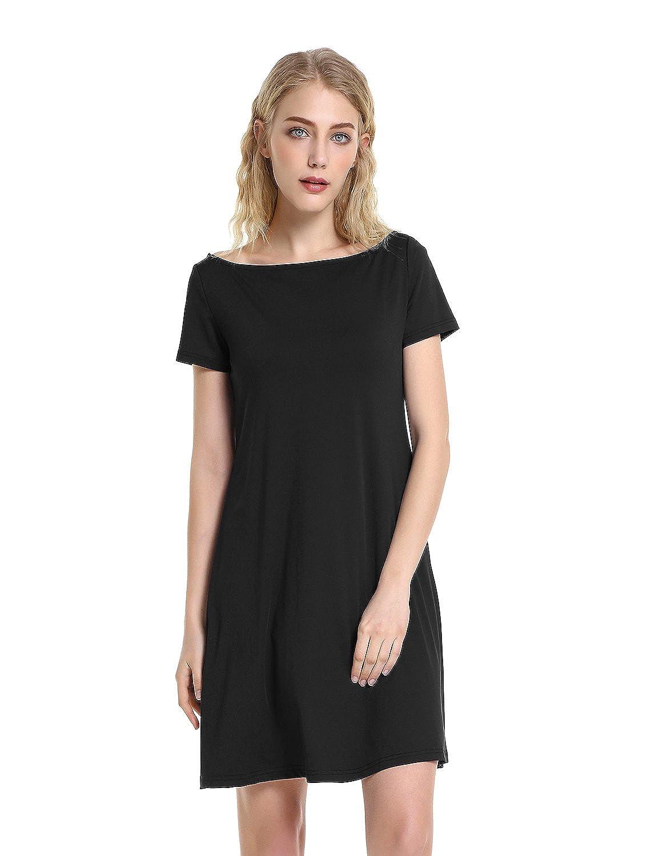 Zanyle Womens Casual Boat Neck Short Sleeve Swing T Shirt Dress