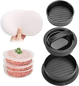DricRoda Non-Stick Burger Press Patty Maker with 40 Wax Patty Paper, Hamburger Patty Maker Tool Beef Grill Meat Mould with for Hamburger BBQ Grill Camp (Black)