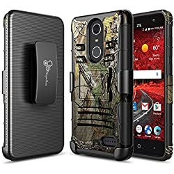 ZTE Grand X4 Case, ZTE Blade Spark Case, ZTE Grand X 4 Case, NageBee [Heavy Duty] Armor Shock Proof Dual Layer [Swivel Belt Clip] Holster with [Kickstand] Combo Rugged Case - Camo