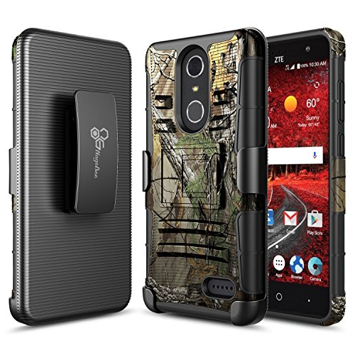 NageBee [Heavy Duty] Armor Shock Proof Dual Layer [Swivel Belt Clip] Holster with [Kickstand] Combo Rugged Case For ZTE Blade Spark (Z971), ZTE ZMax One (Z719DL), ZTE Grand X4 (Z956) -Camo Camo Cell Phone Accessories
