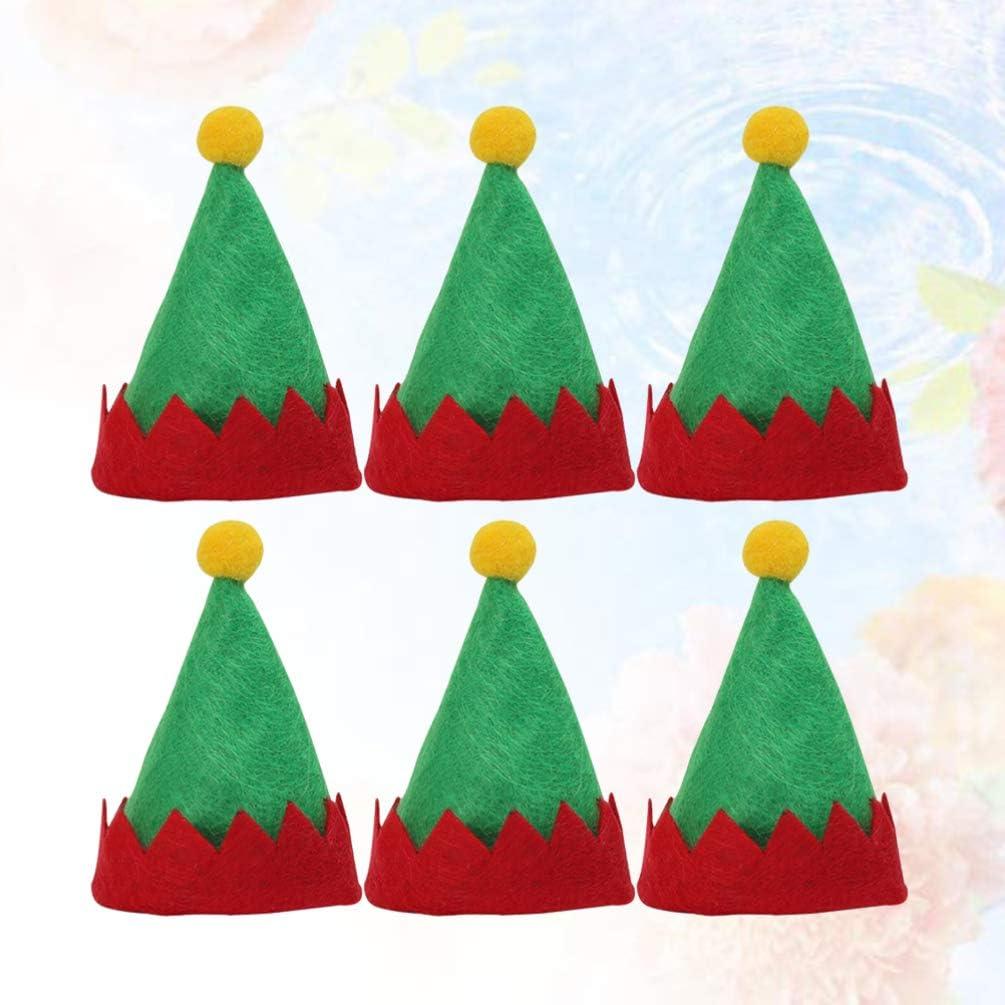 Amosfun Mini Cappelli Rossi Santa Mini Cappelli Elfo di Natale Design Cappelli Lecca-Lecca decori Simpatici Cappelli di imballaggio Caramelle Non tessute Forniture Natalizie 6 Pezzi