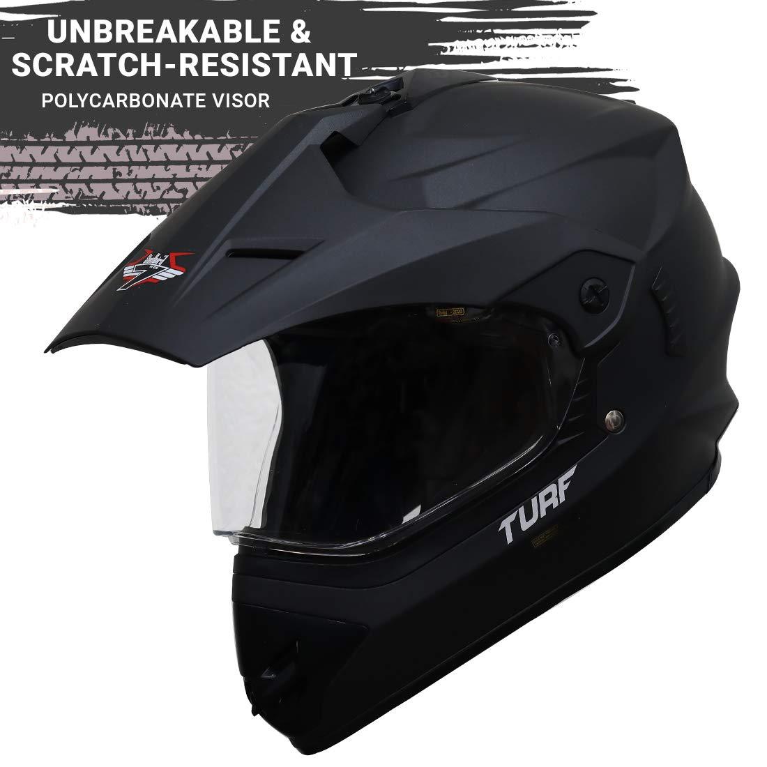 Stylish Matt Midnight Black Steelbird Off Road TURF Motocross Helmet
