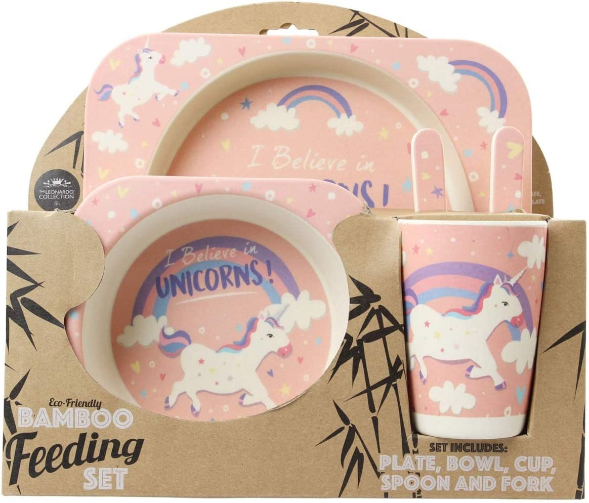 Bamboo Eco-Friendly Believe In Unicorns 5 Piece Kids Dinner Set Lesser /& Pavey