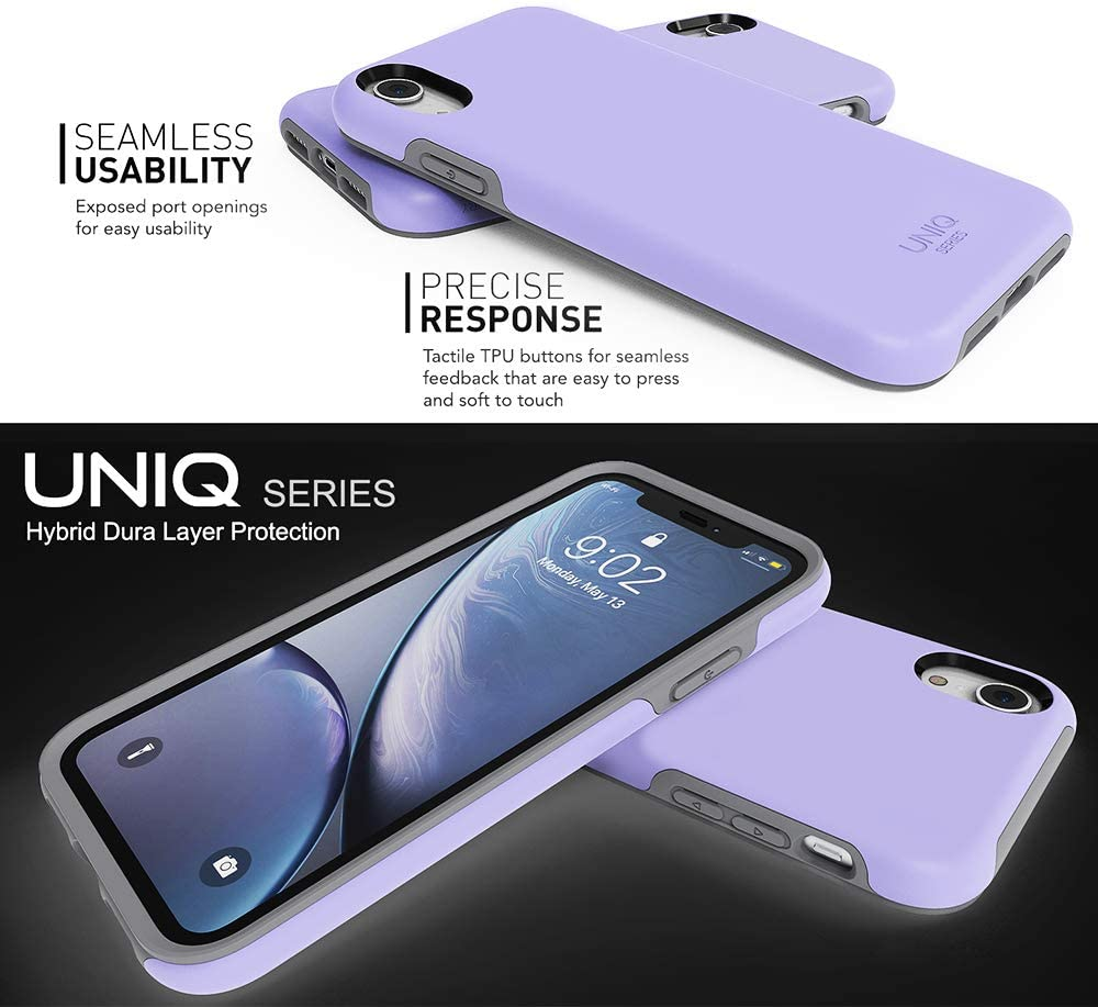 Ultra Defender Shockproof Hybrid Slim Protective Cover Phone Case for Apple iPhone XR 6.1 UNIQ Series Navy Blazer//Gray TEAM LUXURY iPhone XR Case,