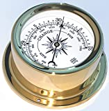 Trintec Euro Aneroid Barometer Polished Brass Marine Nautical Instrument for Boat or Cabin