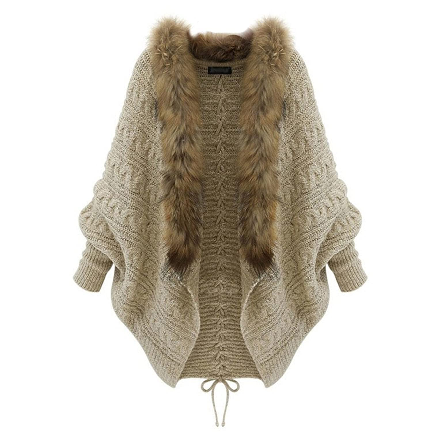 Loose Knit Cardigan Jacket Long Sleeve Sweater Collar Fur Coat Plus Size for Womens