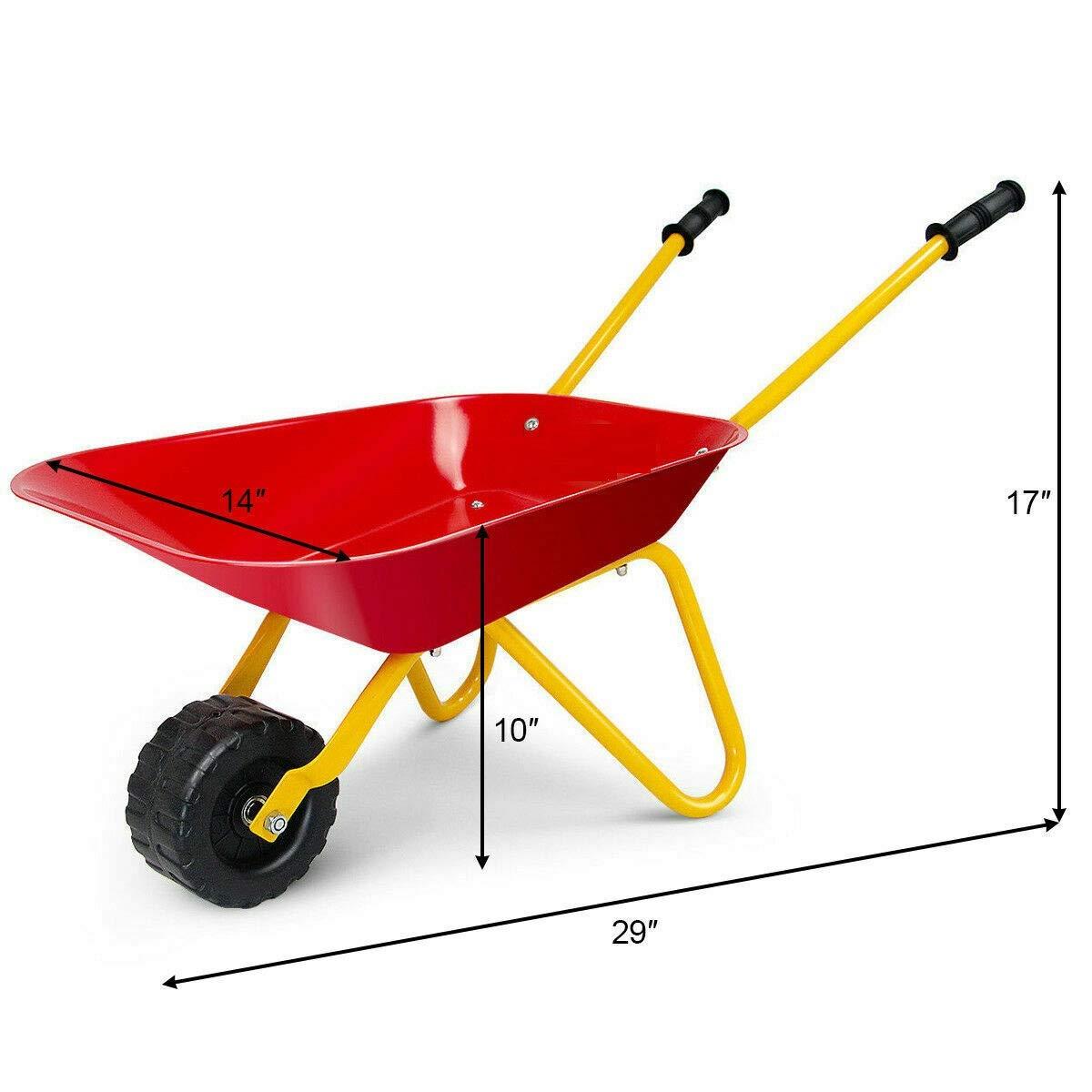 Heize best price Red Kids Metal Wheelbarrow Children's Size Outdoor Garden Backyard Play Toy by Heize best price (Image #4)