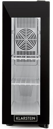 Klarstein Frosty 13L - Nevera para vino, Mininevera, Nevera para bebidas, Nevera para medicinas, 13 litros, 3 estantes, 120 W, Muy silencioso, Rango de temperaturas: 8°C - 18°C, Negro