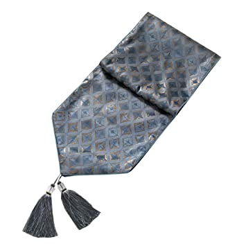 1382 inch, Small Grid-Blue Romantime Modern Light Luxury Jacquard Damask Floral Table Runners and Dresser Scarves with Tassels,Hotel Cocktail Party Bar Coffee Table Home Decorative