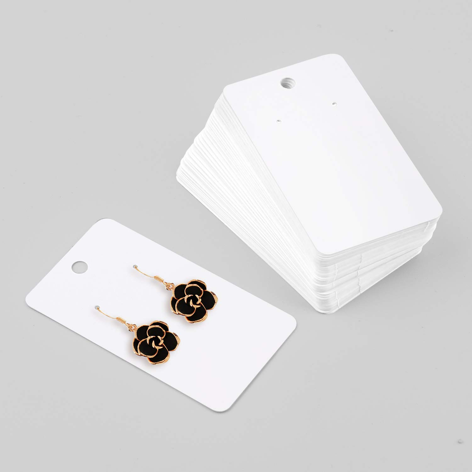 Coopay 200 Pieces Earring Display Card Earring Card Holder Blank Kraft Paper Tags for DIY Ear Studs and Earrings,3.5 x 2 Inches Black