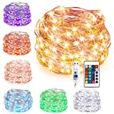 Kohree String Fairy Light for Indoor Bedroom, 33ft 100 LEDs 16 Colors Battery Powered Fairy Lights with USB Multi Color Changing LED String Lights with Remote Christmas Fairy Light Patio Holiday Decoration