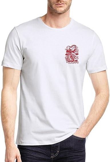 Hombres camiseta fresca del dragón rojo 3D de impresión de manga corta de verano tes de las tapas de moda camisa floja - Talla XXL: Amazon.es: Ropa y accesorios