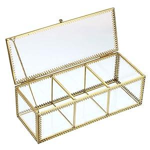 Hipiwe 3 Compartment Makeup Organizer - Vintage Glass Cotton Pad Swab Holder Cotton Ball Storage Box Lipstick Vanity Jewelry Display Decorative Box