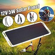 Portable Car Solar Panel Charger, 5W 12V Monocrystalline Solar Panel for The Vehicle's 12-Volt Cigarette L