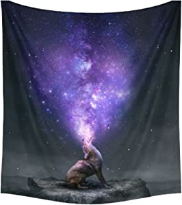 Shukqueen The Lone Wolf and The Bright Galaxy of The Night Sky Wall Art Hanging Tapestry Dorm Decor (130x150cm, Wolf)