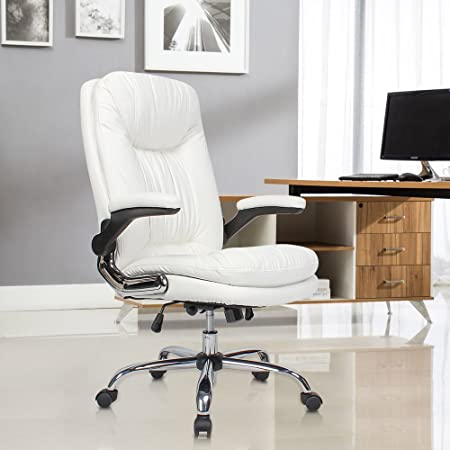 YAMASORO Ergonomic Office Chair with Flip-Up Arms and Comfy Headrest PU Leather High-Back Computer Desk Chair Big and Tall Capacity 350lbs White