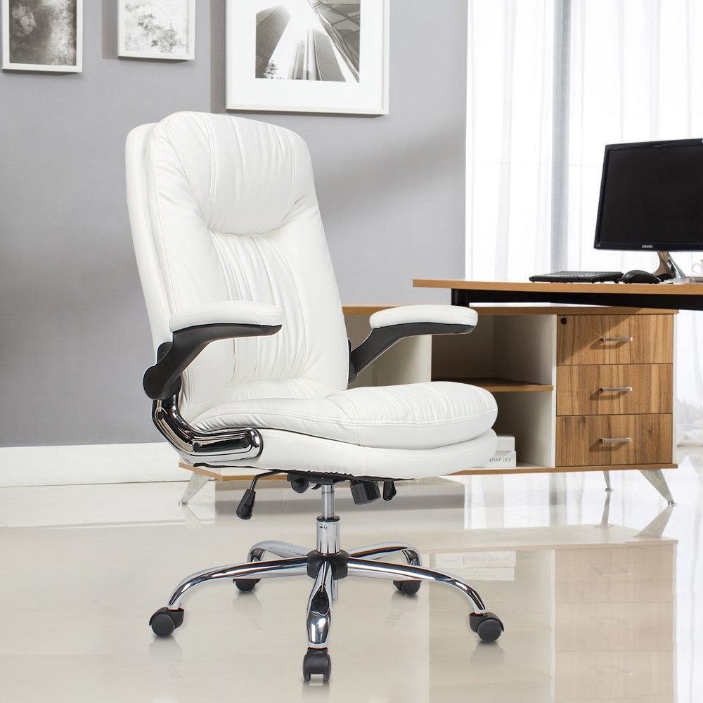 YAMASORO Ergonomic Office Chair with Flip-Up Arms and Comfy Headrest PU Leather High-Back Computer Desk Chair Big and Tall Capacity 330lbs White by YAMASORO (Image #1)