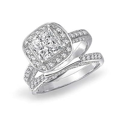 super pas cher se compare à bonne réputation grande remise Bling Jewelry 2CT Princess Cut Halo CZ Fiancailles Mariage Ring Set Argent  Sterling