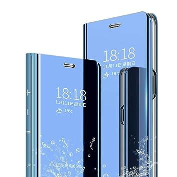 TenYll Funda para Samsung Galaxy A50, Flip Cover Carcasa, Inteligente Case [Soporte Plegable] Caso Duro con del sueño/Despierte Función -Azul
