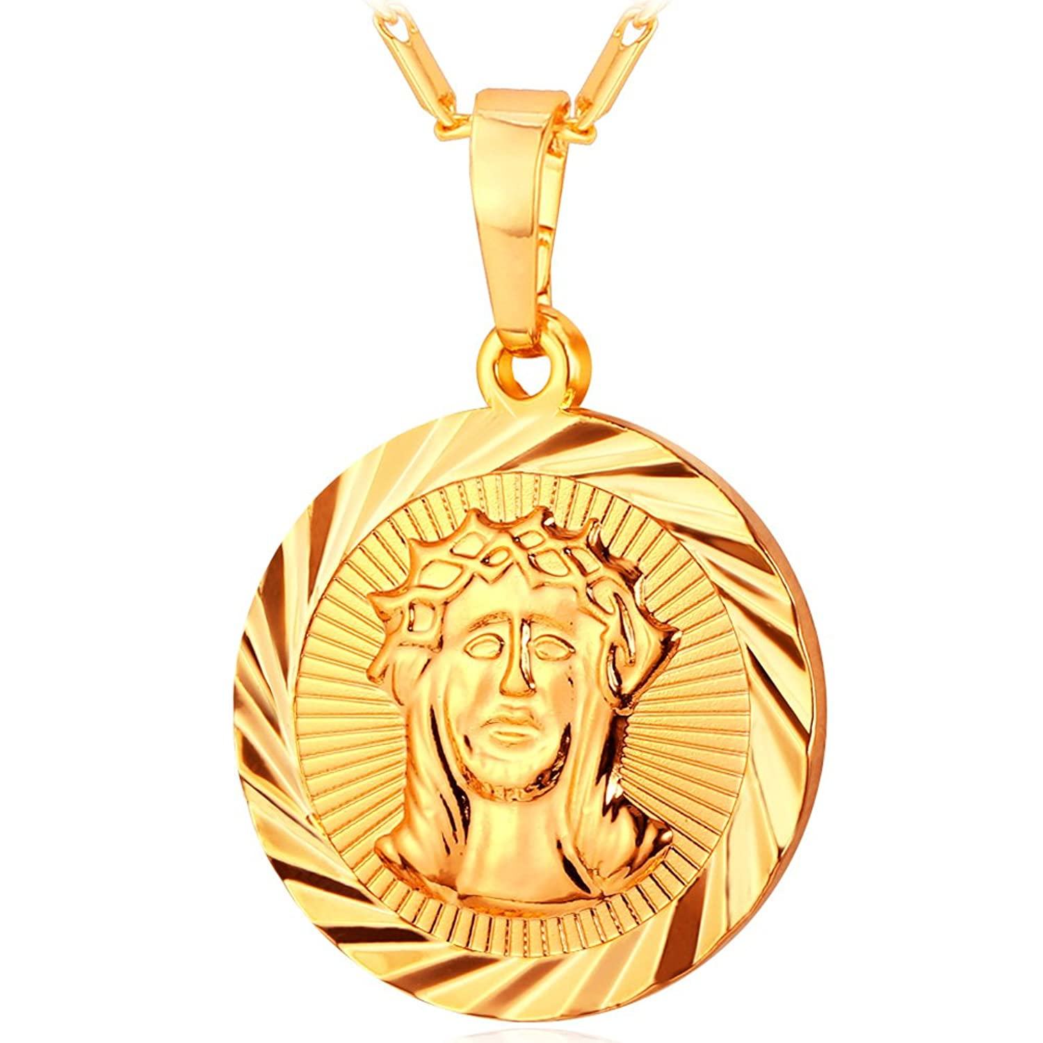 Cool Medal Pendant with Chain 18K Gold Plated Jesus Christ Medal Necklace
