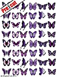 48 X PRE-CUT PURPLE MIX BUTTERFLY EDIBLE RICE / WAFER PAPER CUP CAKE TOPPERS BIRTHDAY PARTY WEDDING DECORATION