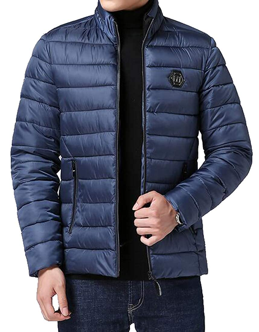 ARTFFEL Men Solid Zip Up Stand Collar Winter Down Quilted Jacket Coat Outwear