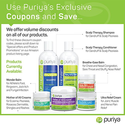 Puriya Sulfate Free Anti Dandruff Shampoo with Tea Tree Oil. 16 oz. Moisturizing and Gentle for Daily Use. Combats itchy, Flaky, Dry Scalp. Ideal for Psoriasis, Seborrheic Dermatitis, scalp eczema by Puriya (Image #5)
