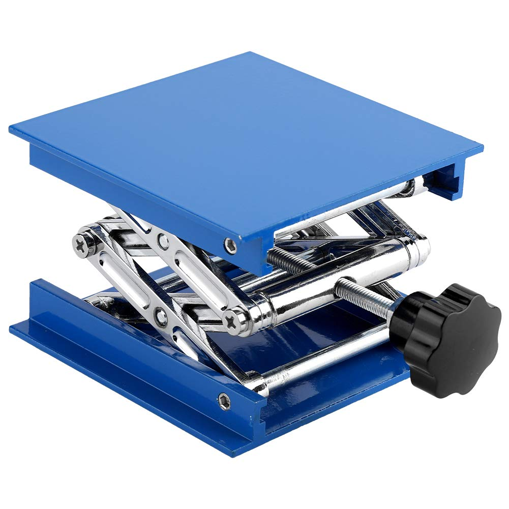 Lab Lifting Platform Stand Adjustable Corrosion Resistance Blue Electroplated Aluminum Rack Scissor Jack Lifter 100 x 100mm