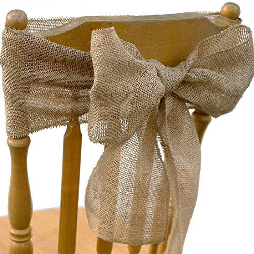 Koyal Wholesale Burlap Material Chair Sash, 6-Inch x 108-Inch, in Bulk 120-Pack for Wedding Burlap Rustic Bridal Baby Shower Party Decorations, Farmhouse, Natural