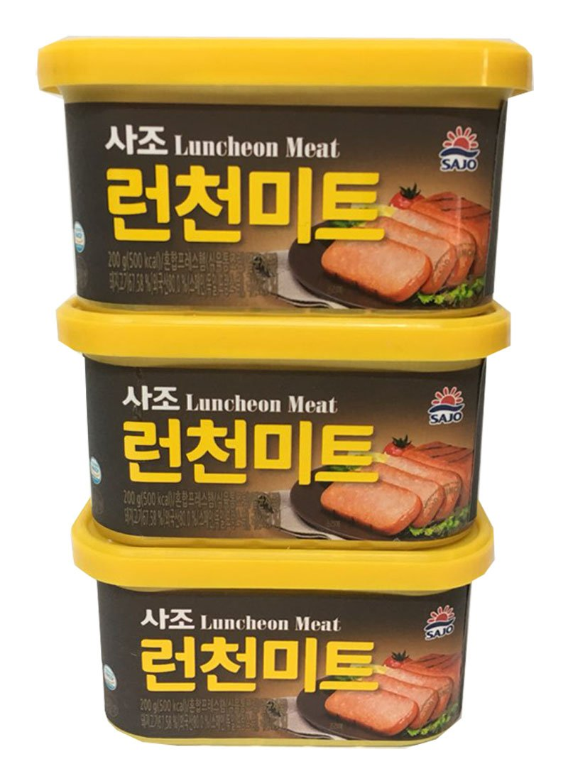 [SAJO] Korean Food Ham - Luncheon Meat (7.05oz x 3pack / 200g x 3pack) + SafeZone Mask (2pcs)