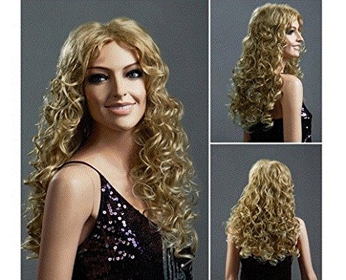 Women's Long Bouffant Curly Hair Wig with Small Wave Curls (Golden) by Ozone48 (Halloween Costume Near Me)